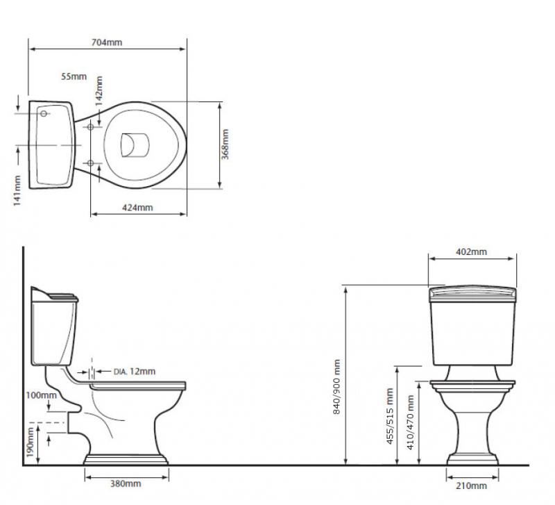 WC - Heritage Dorchester close coupled WC & seat - old fashioned style - vintage interior - rertro