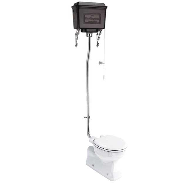 WC - Burlington høytspylende toalett, svarte veggsisterne og sete - arvestykke - gammeldags dekor - klassisk stil - retro