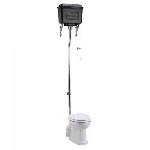 WC - Burlington high level toilet, black metall tank & seat