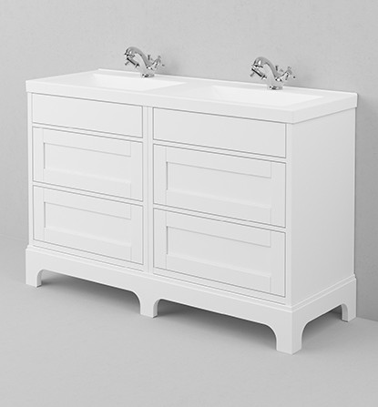 Bathroom washstand -  Double 133 cm white/porcelain