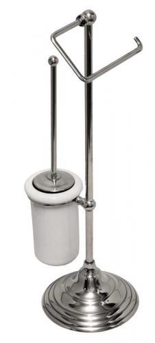 Golvstående toalettborste & toalettpappershållare Sekelskifte - Krom