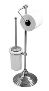 Gulvstående toalettbørste & toalettpapirholder Sekelskifte - Krom