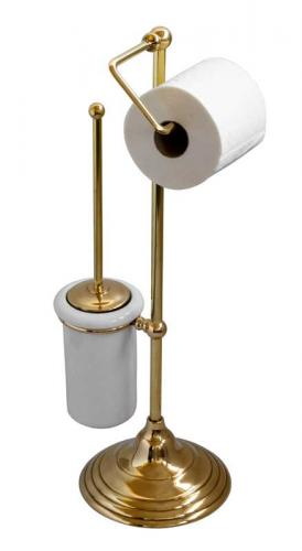 Floorstanding toilet brush & paper holder Sekelskifte - Brass