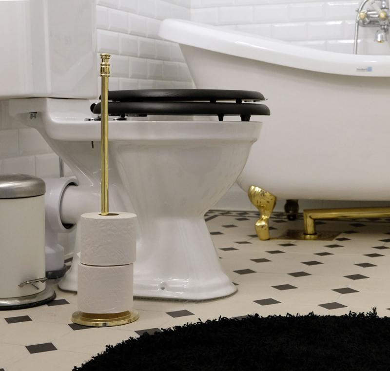 Gammaldags reservpappershållare - toalettpappershållare i mässing - sekelskifte - gammaldag stil - klassisk inredning - retro