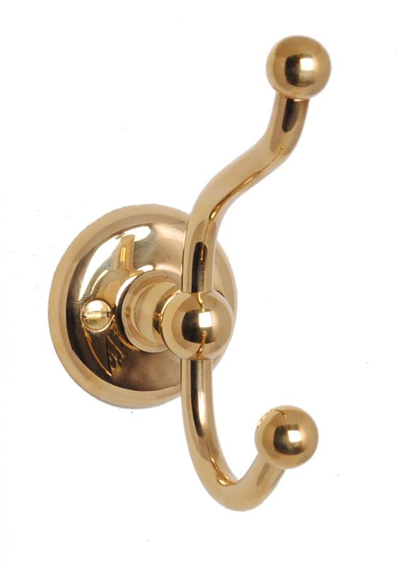Clothes hook Haga - Double - Brass - oldschool - old fashioned interior - old style