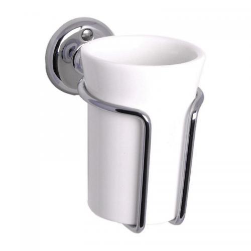 Toothbrush holder - Haga white porcelain/chrome