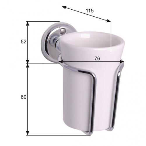 Toothbrush holder - Haga white porcelain/chrome