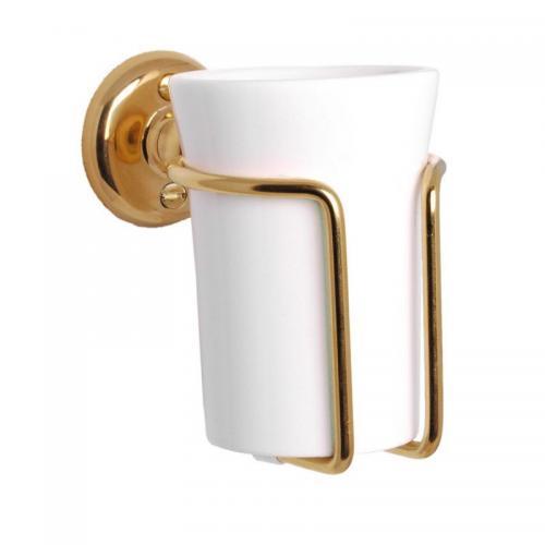 Toothbrush holder - Haga white porcelain/brass