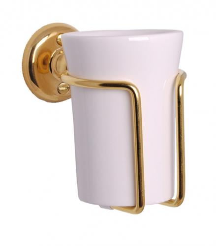 Toothbrush holder - Haga white porcelain/brass