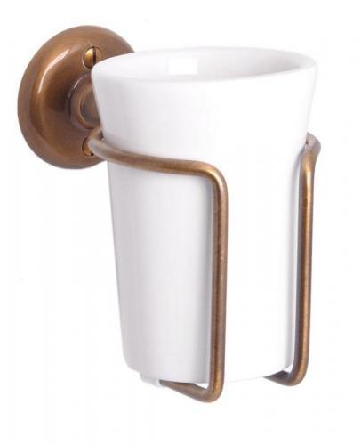Toothbrush holder - Haga white porcelain/bronze