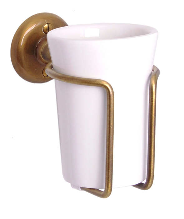 Toothbrush holder - Haga white porcelain/bronze