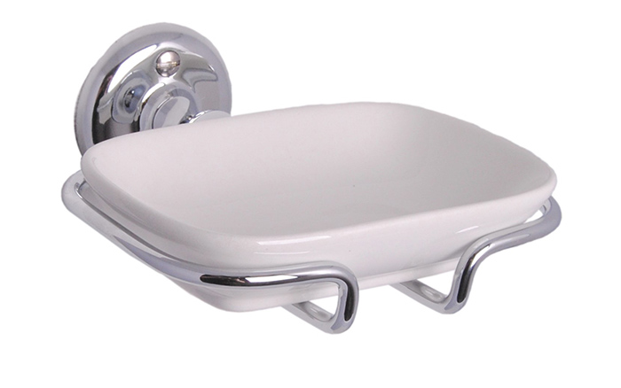 Soap Dish in Porcelain with Chrome Holder - Haga