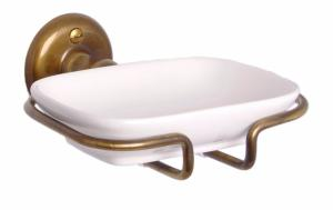 Soap Dish in Porcelain with Bronze Holder - Haga