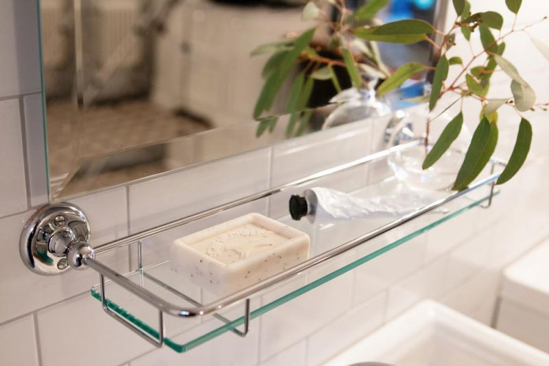 Glass Shelf - Haga 42 cm. Old style bathroom fittings.