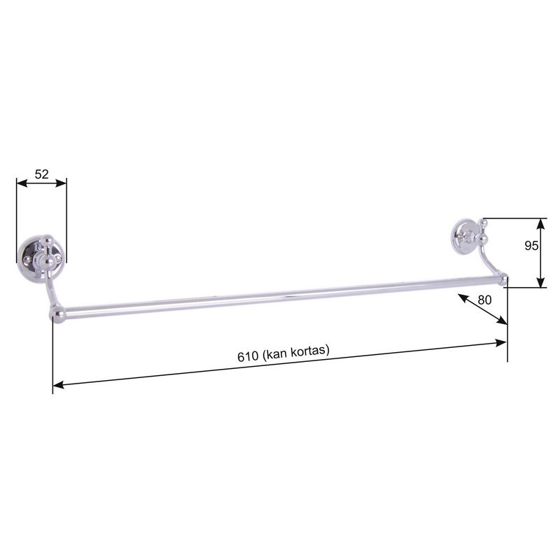 Towel Rail Haga chrome - 61 cm - old style - vintage interior - classic style - old fashioned style