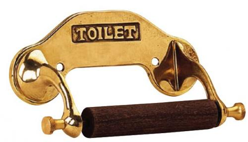 Toilet paper holder - Brass/Wood