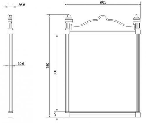 Badrumsspegel - Georgian aluminium vit - sekelskifte - gammal stil - klassisk inredning
