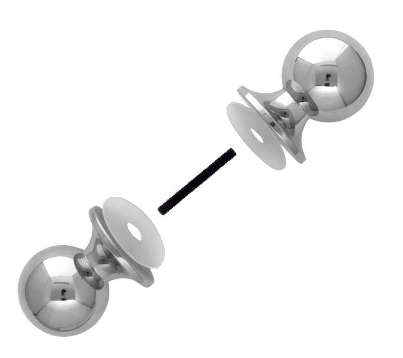 Duschväggshandtag - Dubbelknopp nickel - sekelskiftesstil - gammaldags inredning - klassisk stil - retro