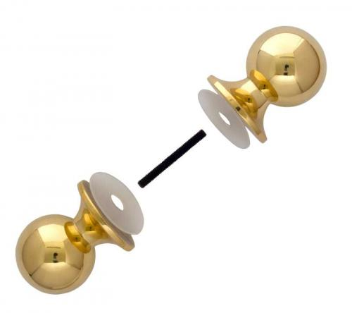 Shower wall handle - Double knob brass