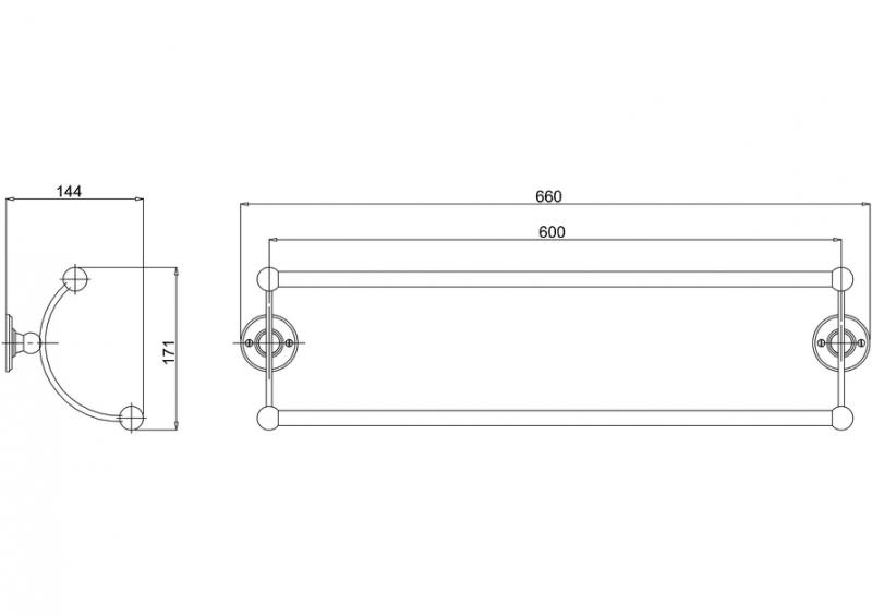 Handduksstång - Burlington dubbel 65 cm - sekelskiftesstil - gammal stil - gammaldags