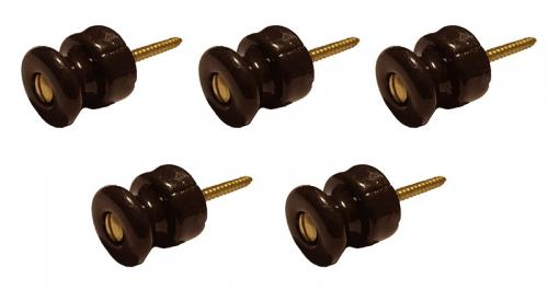 Insulator Knob - Brown porcelain/brass (5-pack)