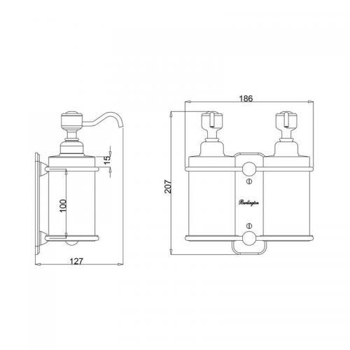 Tvålpump dubbel - Burlington vägg krom/porslin