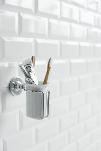 Toothbrush holder - Burlington white porcelain/chrome