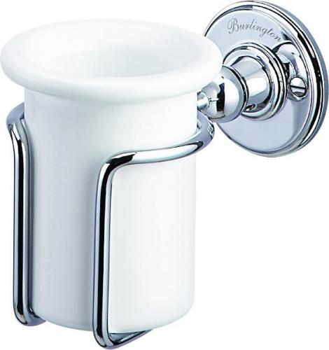 Toothbrush holder - Burlington white porcelain/chrome - classic style - oldschool - retro