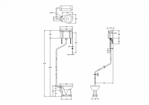 Pipe kit - For installation of angled high level WC