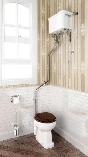 Rørpakke for montering i vinkel for høytspylende WC, krom