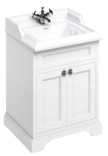 Bathroom vanity - 65 cm white/porcelain/doors