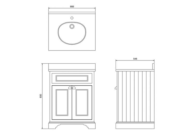 Bathroom vanity - 65 cm white/Carrara/doors - old fashioned style - classic interior