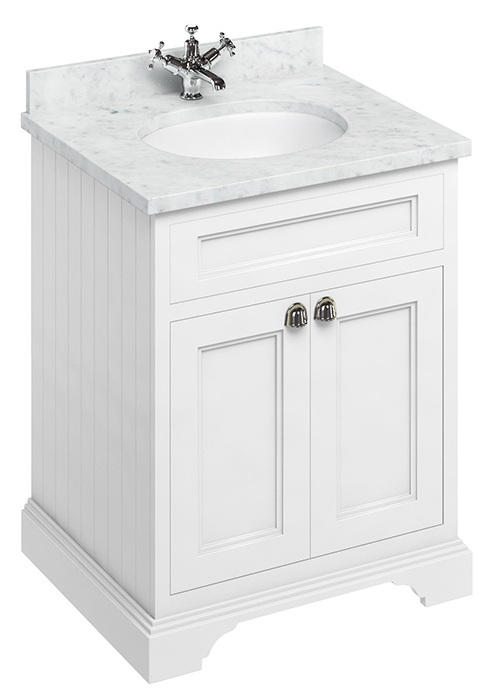 Bathroom vanity - 65 cm white/Carrara/doors