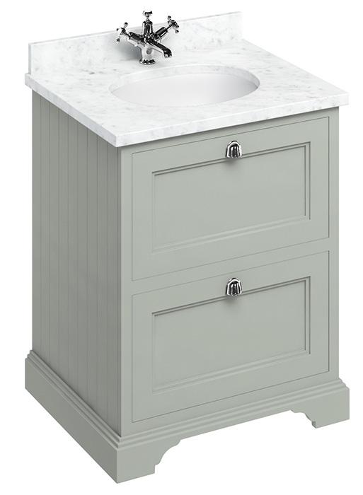 Bathroom vanity - 65 cm dark olive/Carrera marble/drawers
