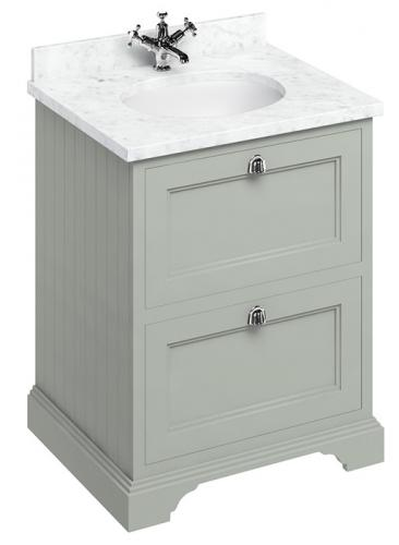 Bathroom vanity - 65 cm dark olive/Carrera marble/drawers