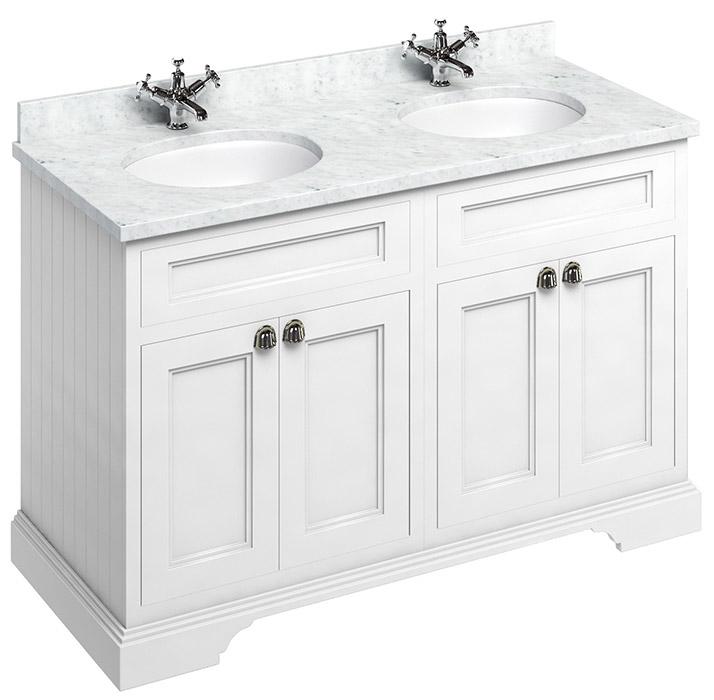 Bathroom double vanity - 130 cm white/Carrera/doors