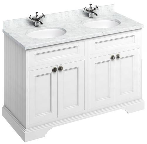 Bathroom double vanity - 130 cm white/Carrera/doors