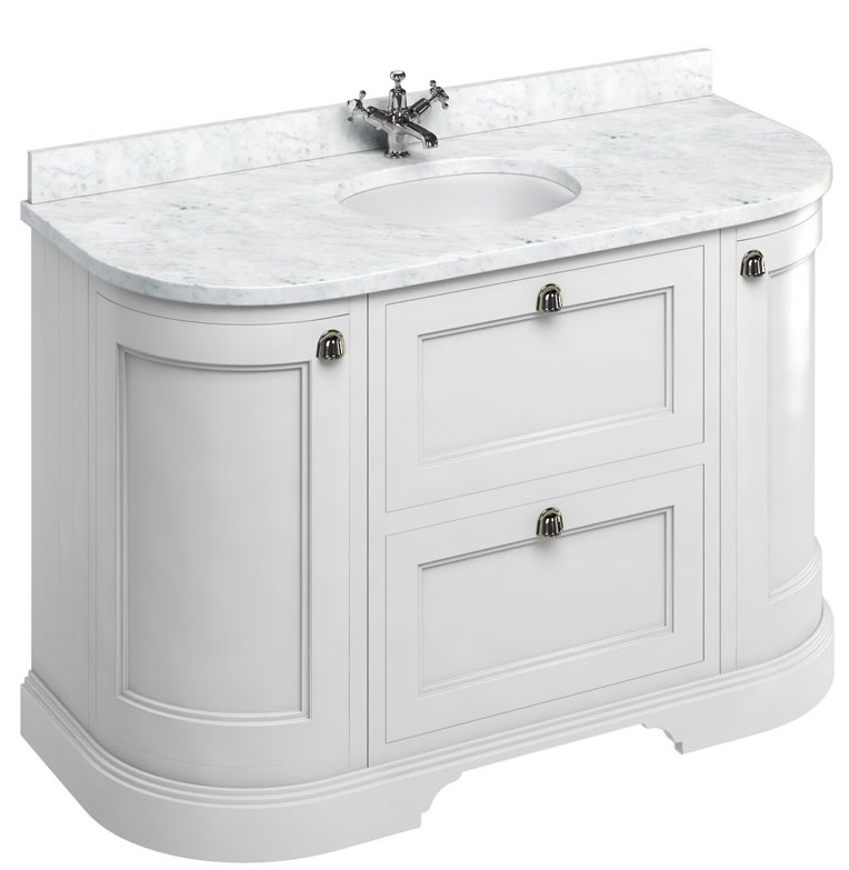 Curved vanity - 134 cm white/Carrera/drawers