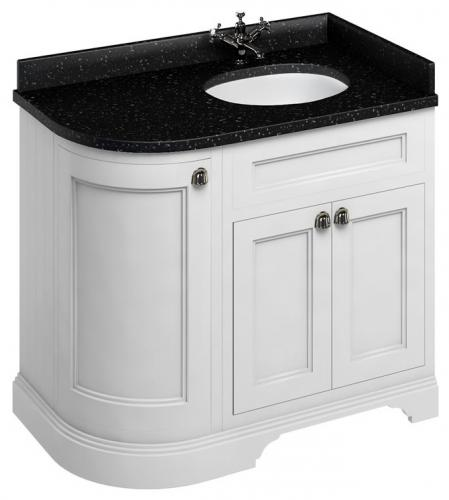 Bathroom  corner vanity - 100 cm white/black granite - old style - vintage interior - old fashioned style