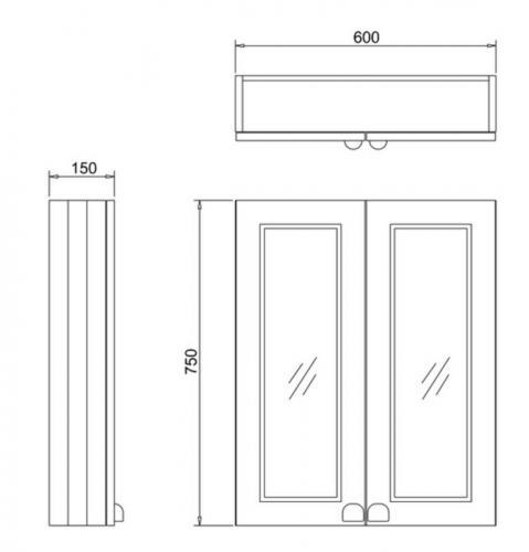 Wall unit bathroom double door - Burlington, grey