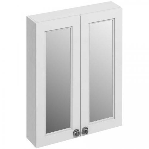 Väggskåp badrum dubbeldörrar spegel - Burlington, matt vit