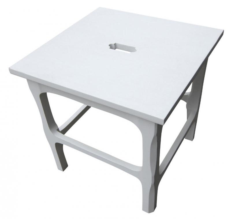 Old style stool - Hand-made white