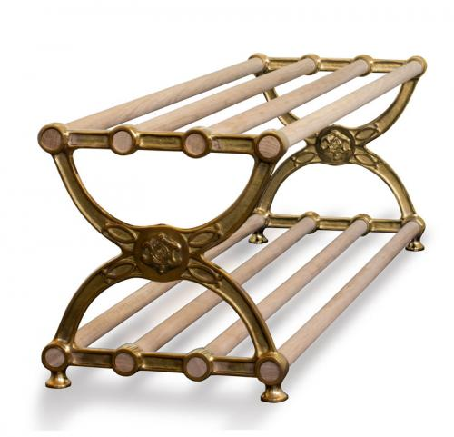 Shoe-rack - Sekelskifte brass & oak