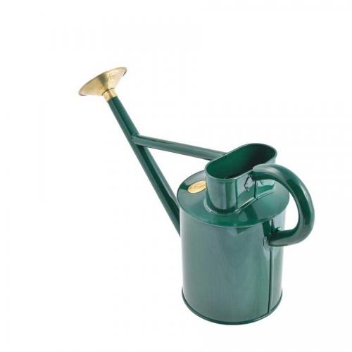 Old style watering can steel/brass 5 L - Green