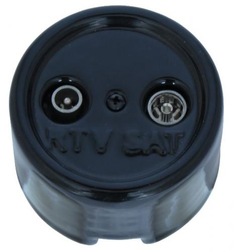 TV/SAT Socket - Black porcelain surface mounted - old classic interior - old style - vintage style