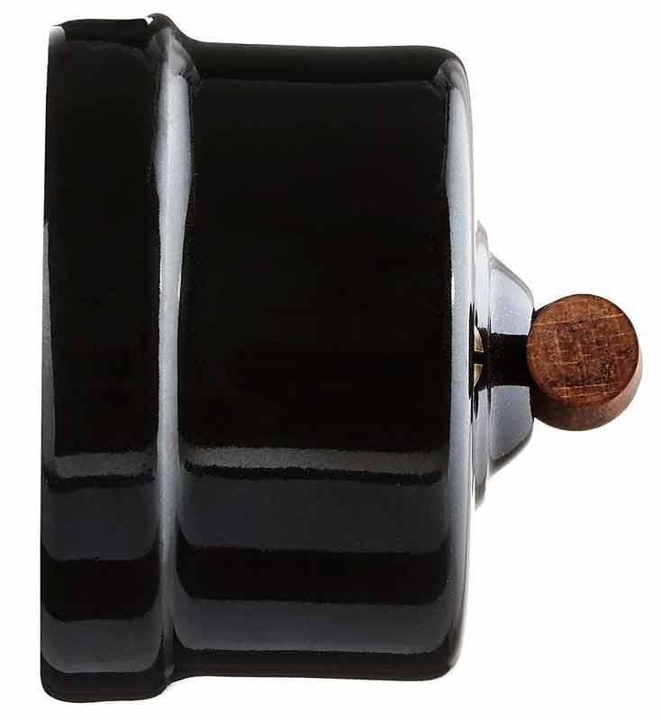 Old style Switch - Black porcelain with wood knob, surface mounted