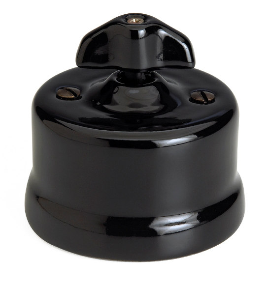 Fontini intermediate switch - Black porcelain surface mounted