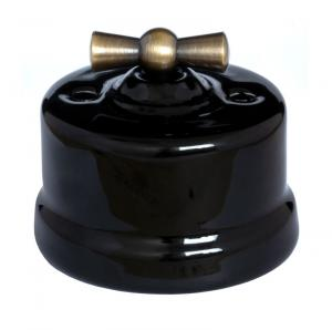 Old style Switch - Black porcelain surface mounted with bronzed knob
