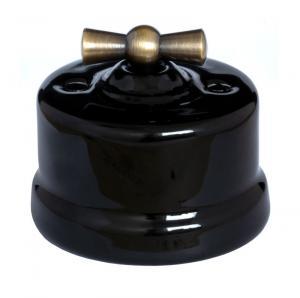 Lysbryter - Svart porselen (Trappekobling/Åpent anlegg/Vribryter) antikk vribryter