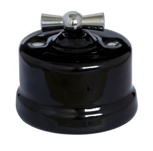 Old style switch - Black porcelain surface mounted chrome knob